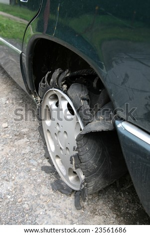 no damage... but destruction tyre car - stock photo