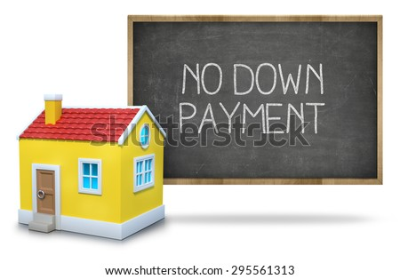 No down payment on black Blackboard with 3d house - stock photo