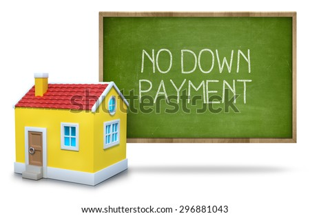 No down payment on green Blackboard with 3d house - stock photo
