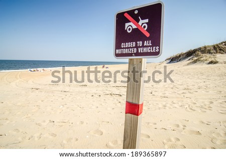 no driving  on beach sign - stock photo