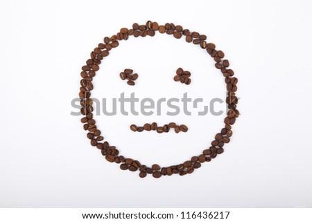 no emotion smiley of coffee - stock photo