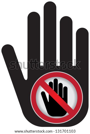 No Enter Prohibited Sign Present By Hand With No Enter Sign Inside Isolated on White Background - stock photo