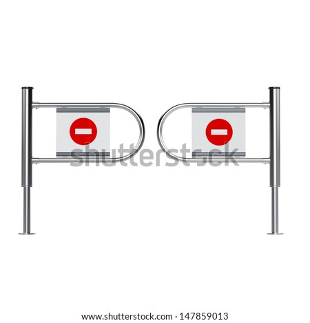 no entrance sign  in a mall or mart isolated on white - stock photo
