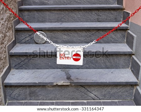 No entry. Progress barred. Exclusion. - stock photo