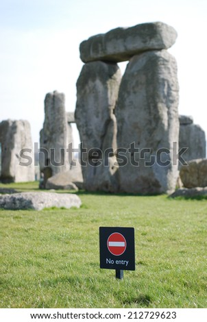 No entry sign in Stonehenge, UK - stock photo