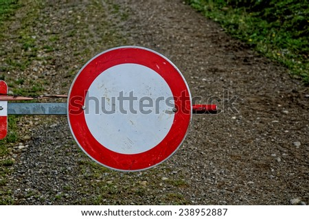 No entry sign in the forest - stock photo