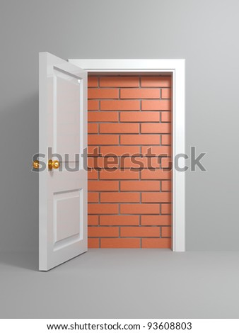 No escape and entrance. Doors laid bricks. 3d - stock photo