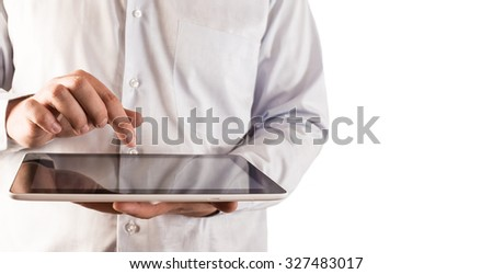 No face Unrecognizable person. businessman's hands with tablet computer Isolated ow white wallpaper texture background. Modern style Finger above black screen Empty space for inscription or object - stock photo