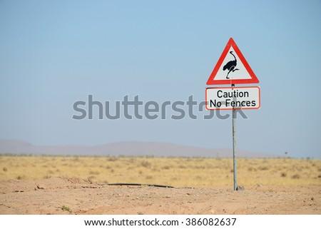 No fences warning road sign, Namib, Namibia - stock photo