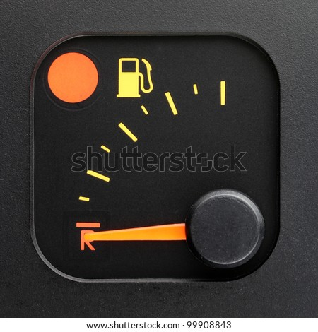 No fuel - empty tank pointer - stock photo