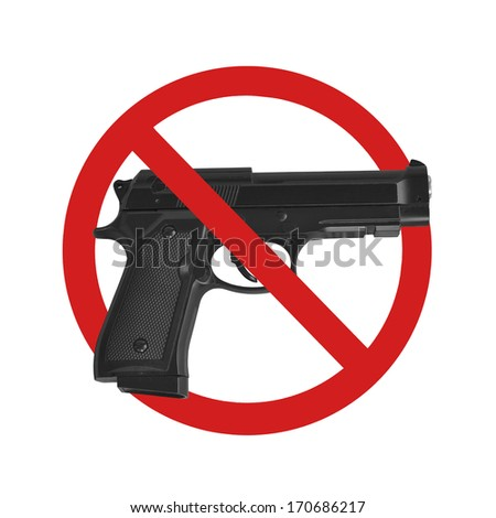 no gun sign on white background - stock photo