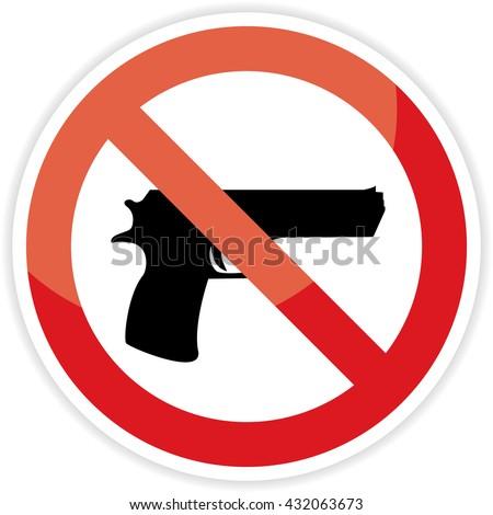 No gun sign on white background. - stock photo