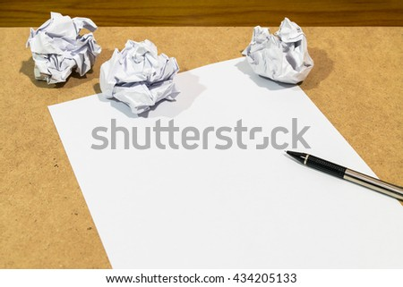No idea; blank paper, pencil and maul paper on drawing board - stock photo