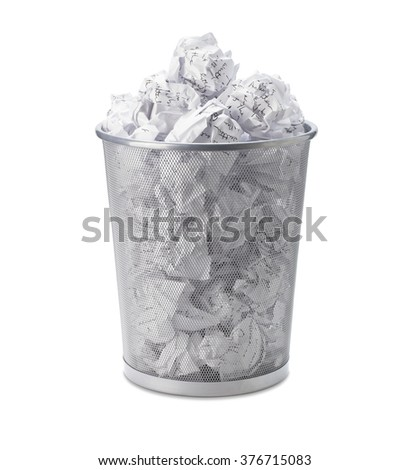 No idea - Crumpled paper can recycle was thrown to metal basket bin. Overflowing waste paper in office garbage bin. Junk, wastepaper in rubbish isolated on white background with clip path - stock photo