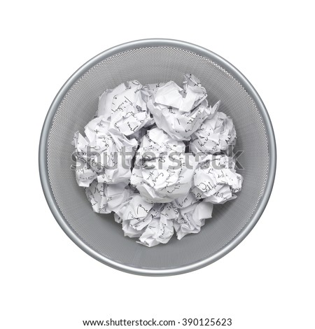 No idea - top view, Crumpled paper can recycle was thrown to metal basket bin. Overflowing waste paper in office garbage bin. Junk, wastepaper in rubbish isolated on white background with clip path - stock photo