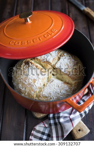 No knead homemade bread, made into casserole - stock photo