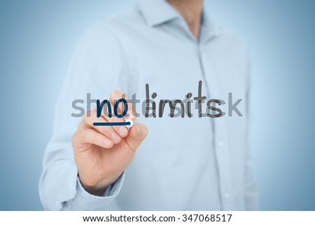 No limits - self-confidence improvement and motivational concepts. - stock photo