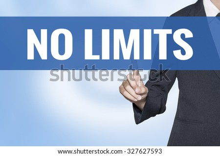 No Limits word on virtual screen touch by business woman blue background - stock photo