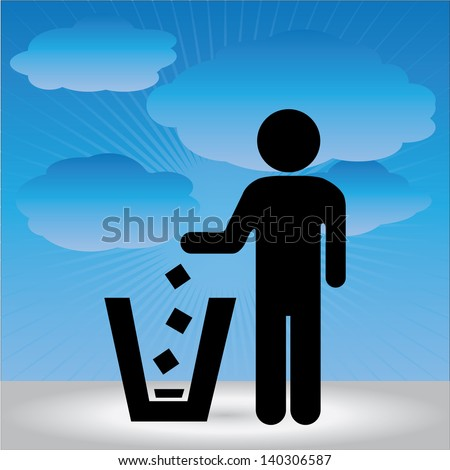 No Littering, Please Use A Trash Can or Please Keep Area Clean Concept Present By No Littering Sign in Blue Sky Background - stock photo