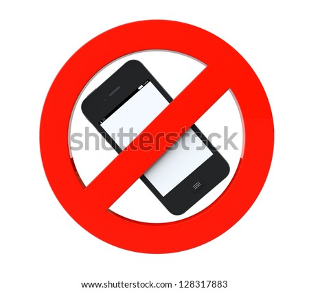 No mobile phone sign on a white background - stock photo
