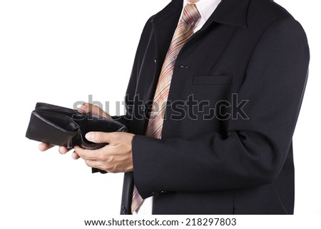 No money concept / hand of Businessman show an old wallet - stock photo