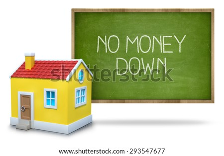 No money down on green blackboard with 3d house - stock photo