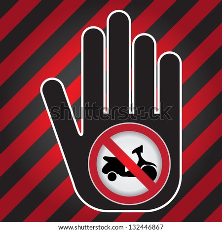 No Motorcycle Prohibited Sign Present By Hand With No Scooter Sign Inside in Caution Zone Dark and Red Background - stock photo