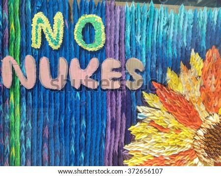 No Nuke sign at Hiroshima, Japan - stock photo