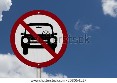 No Parking Allowed Sign, An red road sign with car icon and not symbol with blue sky background - stock photo