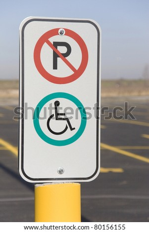 No Parking Handicapped sign - stock photo