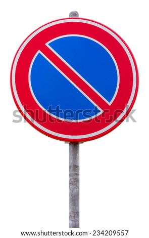 No parking road sign against white background - stock photo