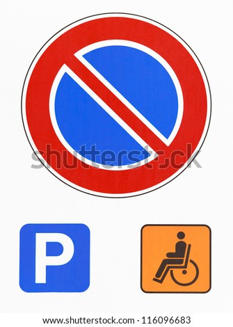 No parking road sign photography. Reserved for disabled drivers - stock photo