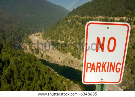No Parking sign on the top of Hungry Horse Dam in Montana - stock photo
