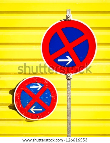 no parking signs at a construction site - stock photo