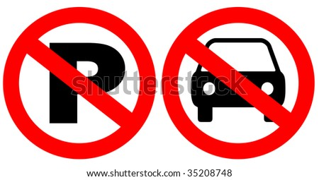 No parking signs over white - stock photo