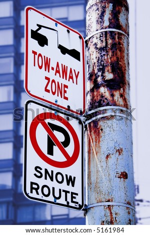 No parking snow route, tow away zone - stock photo