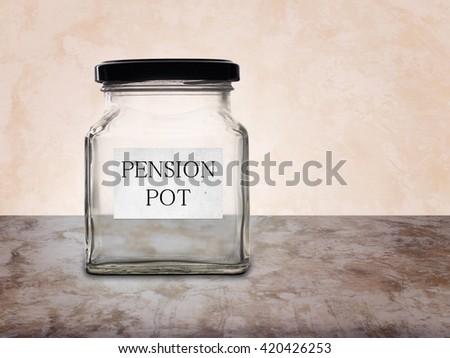 No pension. Empty pension pot, jar. Financial, retirement planning etc. - stock photo