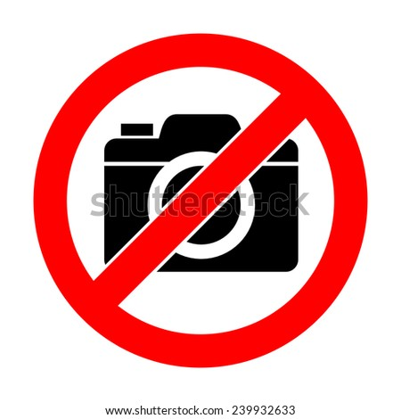 No photo camera sign on white background - stock photo