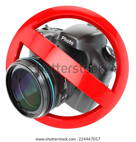 No photography sign.  Photo camera prohibition. 3d - stock photo