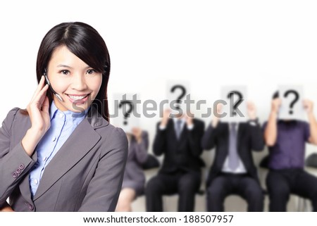 No problem - Smile pretty business woman with headset can answer your question, asian - stock photo