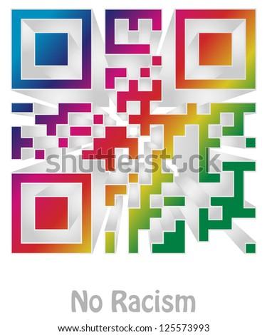 no racism (readable qr code) - stock photo