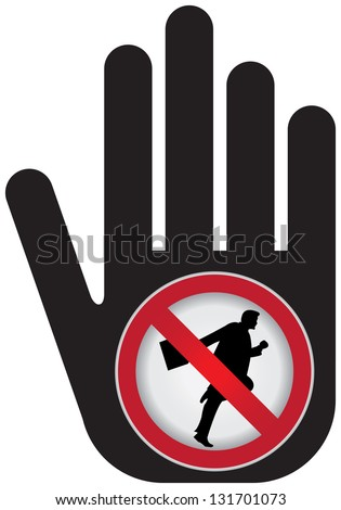 No Running Prohibited Sign Present By Hand With No Businessman Running Sign Inside Isolated on White Background - stock photo