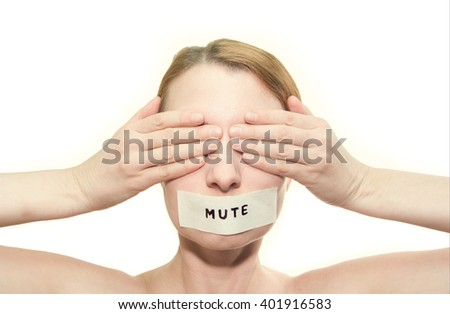 no see, no speak girl - stock photo