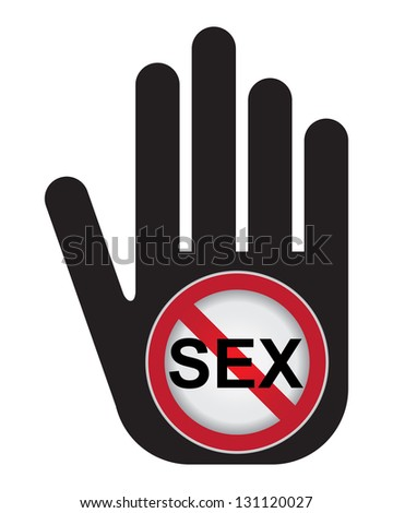 No Sex Prohibited Sign Present By Hand With No Sex Sign Inside in Caution Zone Dark and Yellow Background Isolated On White Background - stock photo