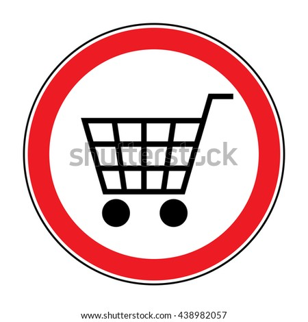No Shopping Cart Sign. Red round No Shopping Cart icon. Illustration of a forbidden signal. No trolley allowed symbol. Prohibited symbol isolated on white background. Flat design. Stock  - stock photo