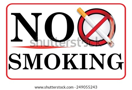 No smoking allowed - red label / sticker containing a realistic lighting cigarette on prohibited sign. Can be used in restaurants, pubs, hospitals or other public places. Print colors used. - stock photo