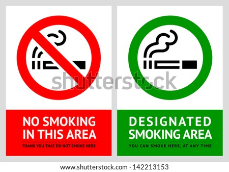 No smoking and Smoking area labels - Set 9. Rasterized versions (copy of the vector) - stock photo
