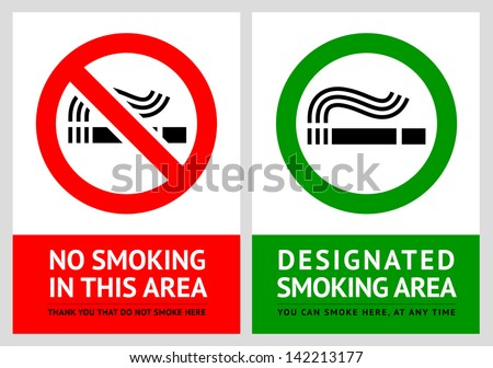 No smoking and Smoking area labels - Set 12. Rasterized versions (copy of the vector) - stock photo
