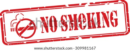 No smoking Grunge Rubber Stamp On White Background With Cigarette Icon. - stock photo