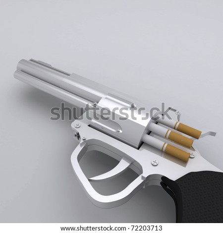 No Smoking Gun with Cigarette Bullets - stock photo